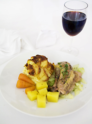 Guinea Fowl with a glass of red wine